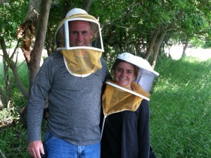 Frank and his daughter with their bee veils!